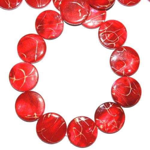 MP764 Red Gold Drizzle Drawbench 20mm Flat Round Mother of Pearl Shell Bead 16'' Crafting Key Chain Bracelet Necklace Jewelry Accessories Pendants