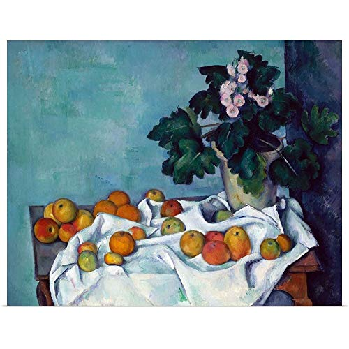 Great Big Canvas Poster Print Entitled Still Life with Apples and a Pot of Primroses by Paul Cezanne 14