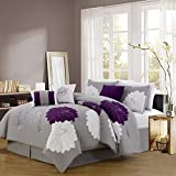 7pc Contemporary Flower Embroidered Comforter Set, Purple/Black King/Queen Ultra Plush and Cozy Bed in a Bag (Queen, Purple/Grey)