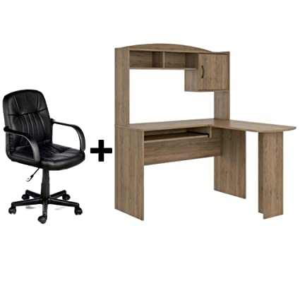 Merveilleux Corner L Shaped Wood Office Desk With Hutch In Rustic Oak + Leather Mid Back