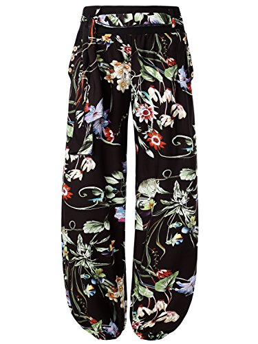 BaiShengGT Women's Button Deco Elastic Cuff Belted Harem Pants Large Black Floral #3 (Gaucho Pants Belted)