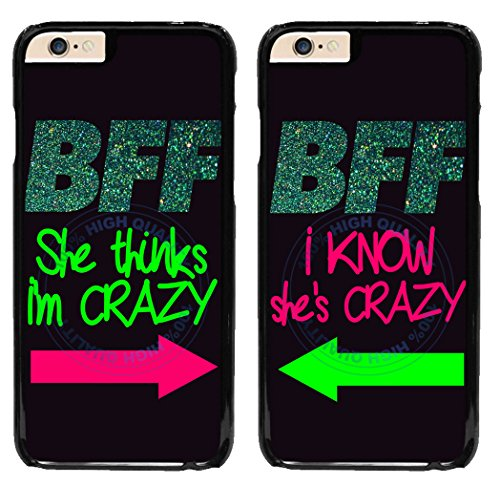 BleuReign(TM) Set Of 2 BFF I Know She's Crazy Plastic Phone Case Back Cover For Apple iPhone 6 6s (4.7 Inches Screen)