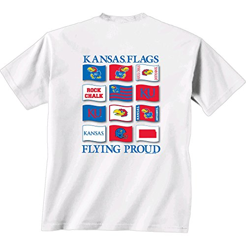 Kansas White Roll (NCAA Kansas Jayhawks Flying Proud Short Sleeve T-Shirt, X-Large, White)