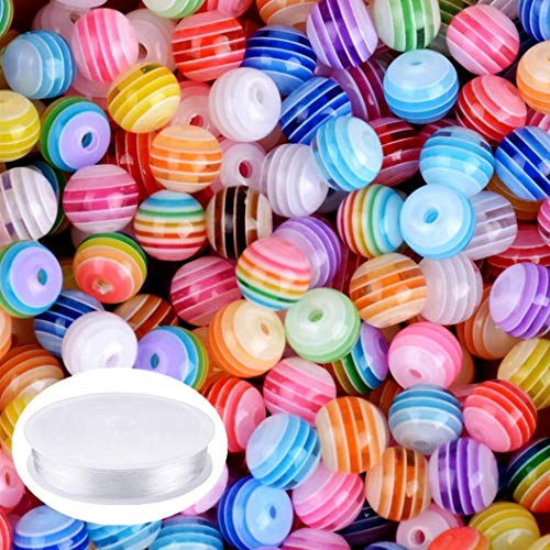 Amaney 300 pcs 8mm Acrylic Rainbow Stripes Beads Colourful Round with 1 Roll 5M Crystal String Cord for Jewelry Making Bracelets Necklaces Key Chains and Kids Jewelry