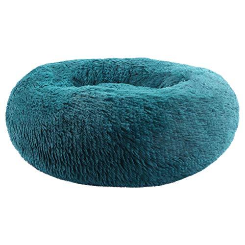 BVAGSS Rundes Plüsch Klein Bett Haustierbett Plüsch Weich Schlafen Bett für Katzen und Hunde XH062 (Diameter:60, Cyan)