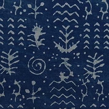 Royal Indigo Blue Natural Vegetable Dye Hand Block Printed Mud Resist Dabu Print 100/% Cotton Soft Indian Fabric By The Yard IBF#118
