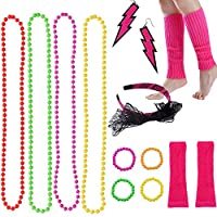 Horuru 80s Fancy Dress Accessories Neon Necklace Bracelet Earrings Gloves Leg Warmers Headbands Fishnet