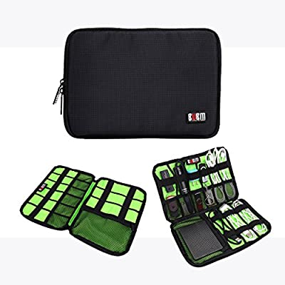 BUBM Electronic Accessories Organizer, Waterproof Travel Carrying Bag, Daily Storage for Cables, Cards, Flash Disk, Earbud, Hard Driver, Cosmetics Management (Black) from BUBM