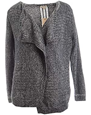 Womens Marled Open Front Cardigan Sweater