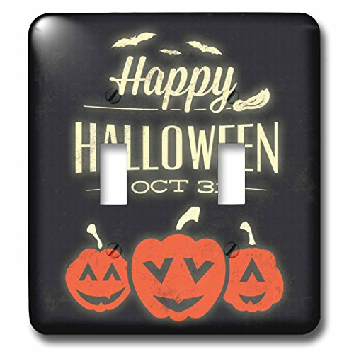 3dRose lsp_200331_2 Happy Halloween Greeting with Pumpkins Light Switch Cover ()