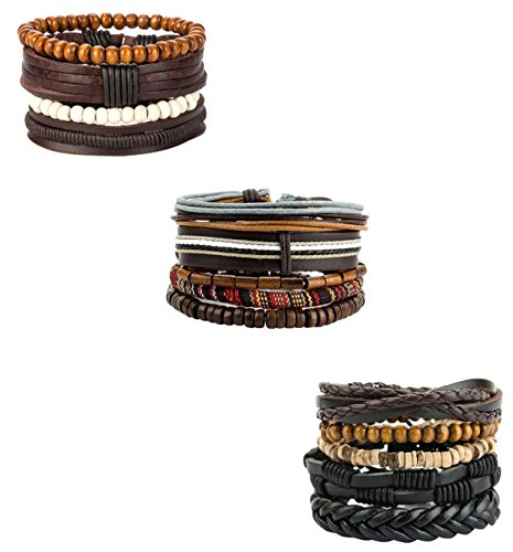 15 Leather Bracelets (REVOLIA 10-15Pcs Mens Womens Leather Bracelets Wooden Beaded Bracelets Braided Cuff (C: 14 Pcs Set))