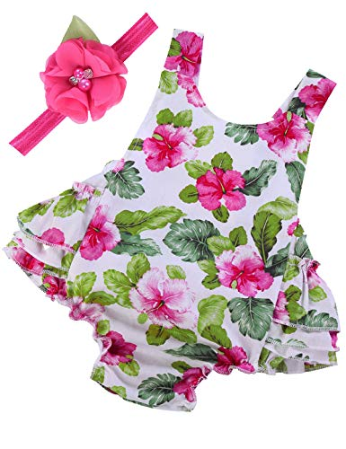 PrinceSasa Baby Girl Clothes Rose Flower Floral Ruffles Summer Cake Smash Romper and Headband for Newborn Gifts,A28,0-6 Months(Size S)