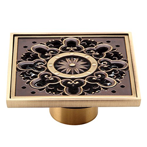 HARPOON Copper/Brass Bathroom Floor Drain Square Shower Sink Drain Strainer with Removable Cover, Carved, Antique