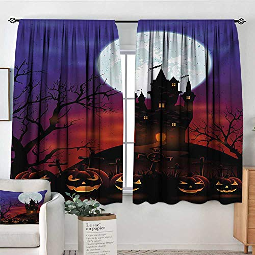 Mozenou Halloween Waterproof Window Curtain Gothic Haunted House Castle Hill Valley Night Sky October Festival Theme Print Blackout Draperies for Bedroom 55
