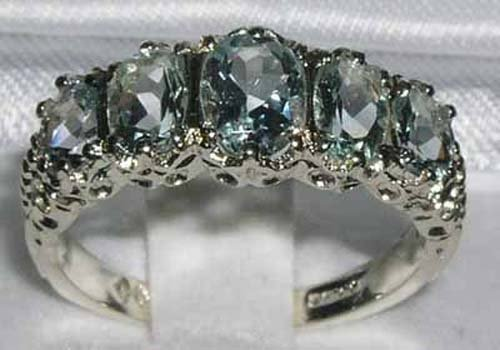 925 Sterling Silver Natural Aquamarine Womens Band Ring - Sizes 4 to 12 Available