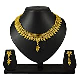 Pourni Short Necklace Set with Earring For Bridal Jewellery Antique Finish Necklace Set For Women