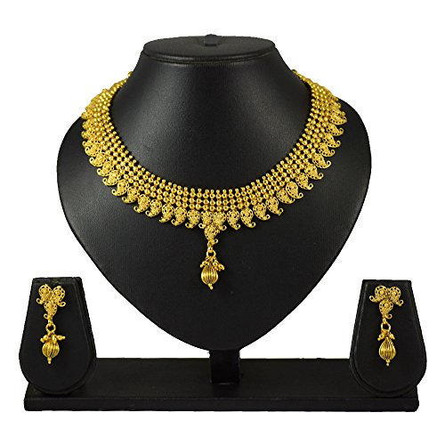 Pourni Short Necklace Set with Earring For Bridal Jewellery Antique Finish Necklace Set For Women by Pourni