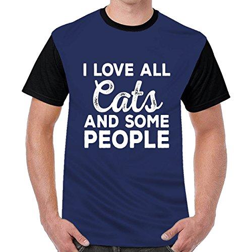Firewing I Love Cats Men Cool Round Neck t Shirts Top Blouse Shirt Navy