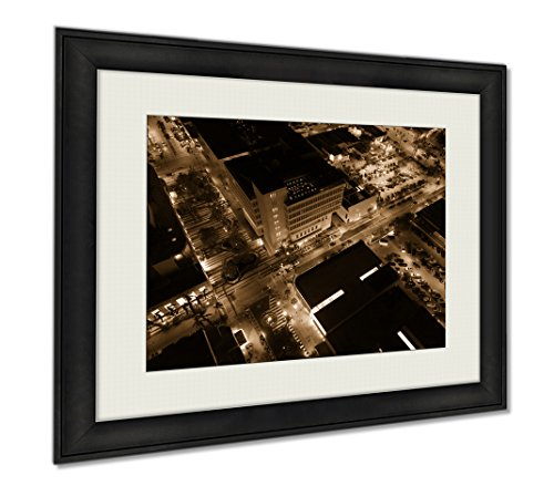 Ashley Framed Prints Aerial Photo Of Lincoln Road Mall Miami Beach, Wall Art Home Decoration, Sepia, 26x30 (frame size), - Miami Beach Mall Lincoln