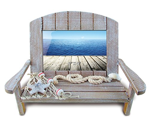 Puzzled Wooden Beach Chair Nautical Picture Frame Decor - Rustic Coastal Ornament 4x6 Inch Unique Surf Fishing Frames - Miniature Adirondack Memory Holder Gift Novelty Home Office Accent - Item (Fishing Memories Photo)