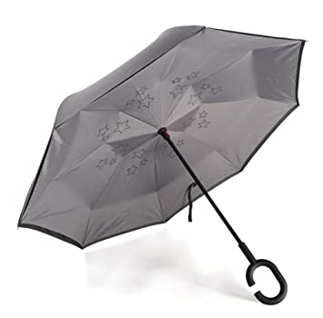 Carom Tuch,Coche paraguas reverso paraguas reverso paraguas doble creativo paraguas de negocios paraguas viento