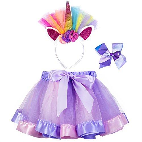 Little Girls Layered Unicorn Rainbow Tutu Skirt Dress up with Headband Hair Bows (Purple, M=2-4 Years) -