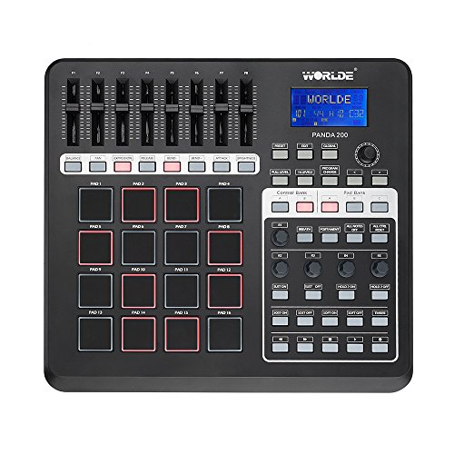 Worlde Portable Panda 200 MIDI Controller USB 16 Pads with LCD Backlight Display by Worlde
