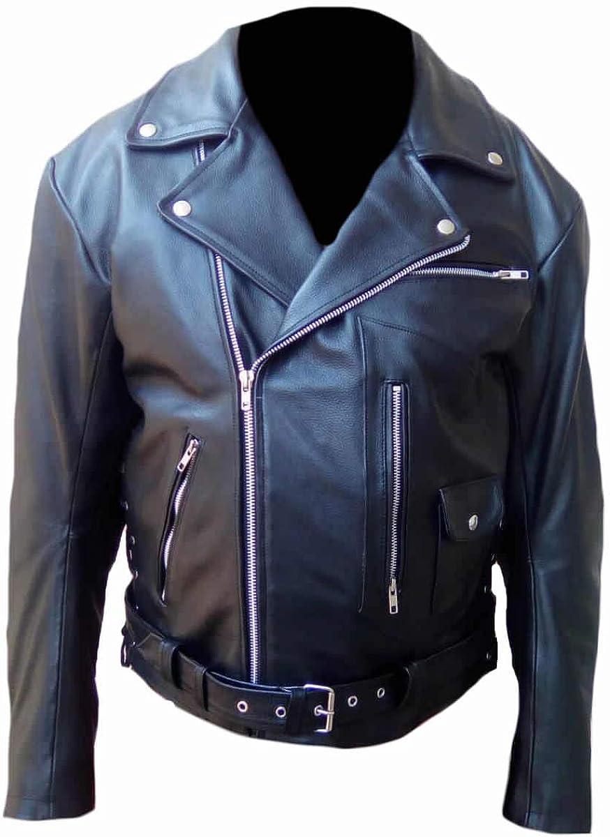 SleekHides Mens Brando Style Synthetic Leather Fashion Jacket
