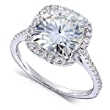 Cushion-cut Moissanite Engagement Ring with Diamond 3 CTW 14k White Gold (8.5mm)