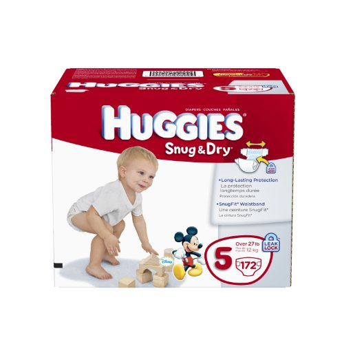 Huggies Snug and Dry Diapers Economy Plus, Size 5, 172 Count by HUGGIES