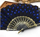 Black Deep Blue Multi Colors Sequins Peacock Lace Elegant Hand Fans Dancing Props Dance Fan Party Favors Party Supplies
