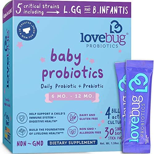 Lovebug Probiotics Tiny Tummies Probiotics, 30 Packets, Infant & Baby Probiotic Supplements for Babies 6-12 Months, Flavorless Powder - Oral Probiotics Kids - Helps Reduce Crying