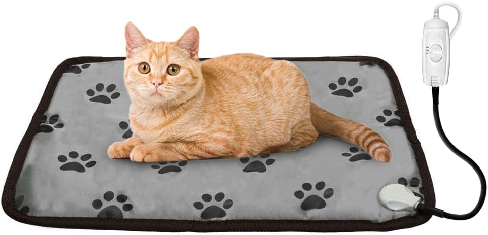 PUPTECK Pet Heating Pad - Dog Cat Electric Heated Pads - Waterproof & Chew Resistant Mat for Indoor Grey