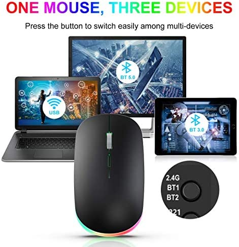 RGB Wireless Mouse, WisFox 2.4G Rechargeable Silent Wireless Bluetooth Mouse, 3 Modes (Bluetooth 5.0/3.0 + USB), LED Ergonomic Mouse for Laptop Desktop Windows Mac iPad (Black)
