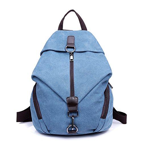 Coreano gioventù letteraria Sport Tempo libero Borse Borse Canvas spalla pack colore puro Lady zaino, blu