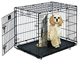 Medium Dog Crate | MidWest Life Stages 30' Double Door Folding Metal Dog Crate | Divider Panel, Floor Protecting Feet & Dog Tray | 30L x 21W x 24H Inches, Medium Dog Breed