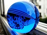 40mm Asian Rare Natural Quartz Blue Magic Crystal Healing Ball Sphere +Stand