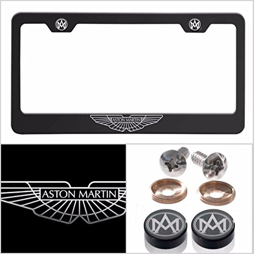 Fit Aston Martin Laser Engraved Logo License Plate Frame Made of Industrial Grade Powder Coated Black Matte Black Stainless Steel w/ Caps and Accessories