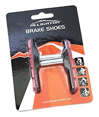 Alligator VB-703BR Cantilever MTB Mountain Bicycle Bike Post Type Brake Shoes Pads, Black/Red