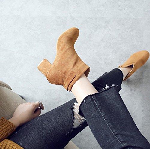 Stivali Donna Inverno Stivali Duantong XZ Tondo Tacco Autunno e Martin Medio Giallo Tacco Femminile Moda Stivaletti AOw7xTB