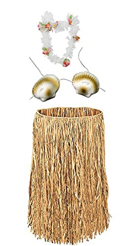 Costume Set Hawaiian Grass Skirt With Sea Shell Bra And Flower Lei by Jacobson Hat Company