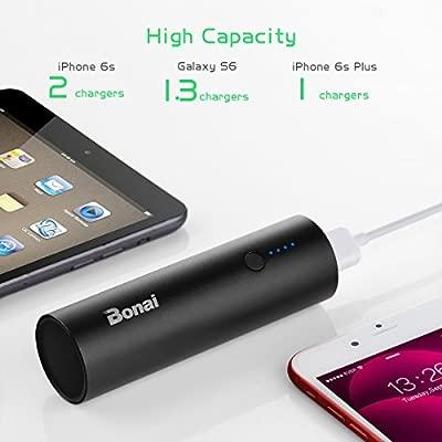 BONAI Batería Externa, 5800mAh Cargador Móvil Portátil Batería Power Bank para iPhone Samsung and Android con Cable - Negro