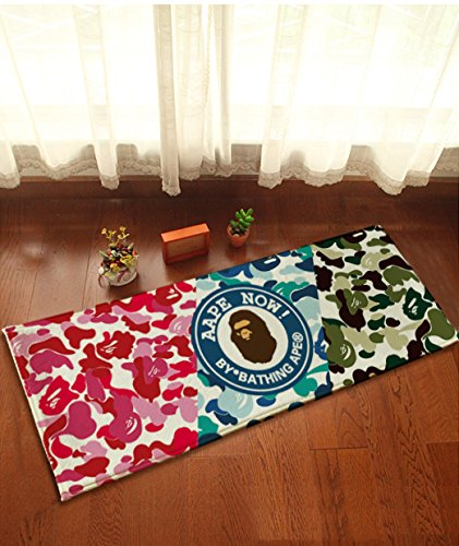 Camo Bathroom Rugs: Yazi Colorful Camouflage Cartoon Ape Non Slip Flannel Home