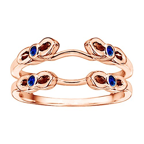 .1CT Diamond Sapphire Cathedral Infinity Ring Guard Rose Gold Plated (.1CT TW G-H I1-I2 Diamond Sapphire)