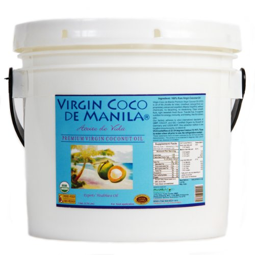 Organic 100% Virgin Coconut Oil Dietary Supplement - 1 gallon (128 oz / 3.79 liters) Direct from Maker - Manila Coco Factory