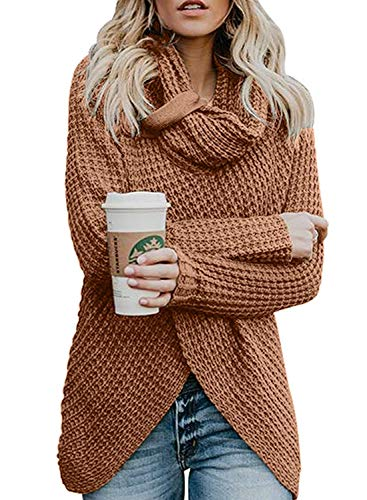 MYIFU Womens Sweaters Casual Cowl Neck Cable Knit Wrap Asymmetric Hem Pullover Sweater (Deep Pink, XL)