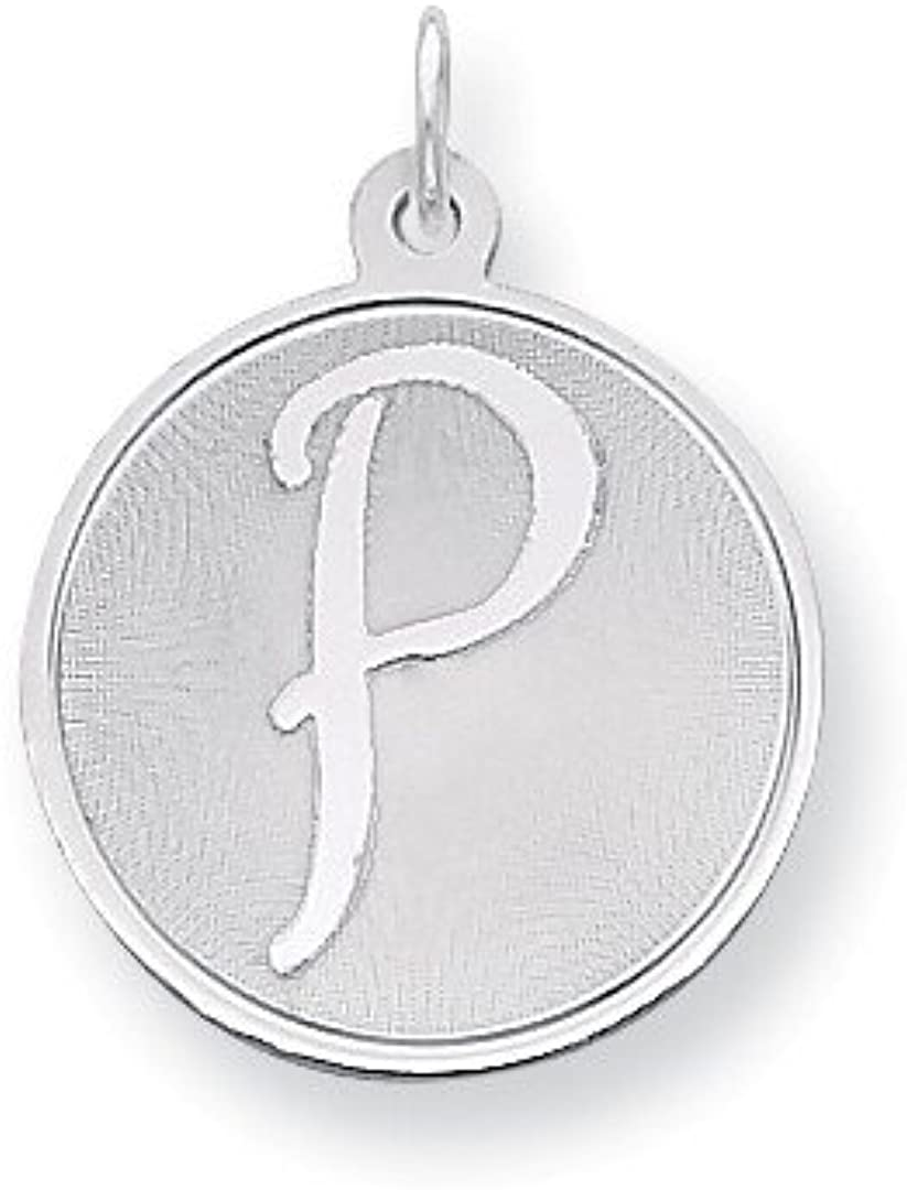 925 Sterling Silver Brocaded Initial Monogram Name Letter P Pendant Charm Necklace Fine Jewelry Gifts For Women For Her
