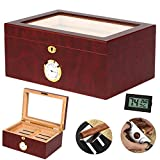COMMODA Desktop Cigar Humidor Tempered Glasstop with Front Mounted Hygrometer and Humidifier, Cedar Lined Storage box Spanish Cedar Tray with Divider, Holds 100 Cigars cigar Free Cutter and Rack