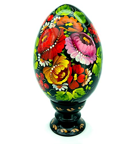 UA Creations Hand Painted Lacquered Pysanka Wooden Egg on Holder, Large Fancy Petrykivka Ethnic Style Easter Souvenir from Ukraine in a Gift Box, Jumbo Size (Yellow Red and Violet) ()