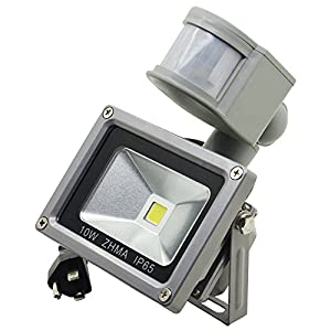 ZHMA Motion Sensor Floodlights , 10W LED Outdoor, Smart PIR Flood Lamp Waterproof 6000K with US-3 Plug ,700 Lumen Exterior Security Lights Daylight White for Garden,Playground, garage, basement